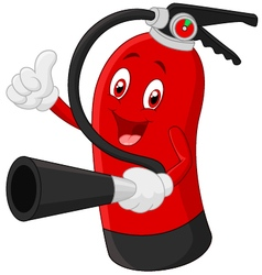 Cartoon character of fire extinguisher giving thum vector