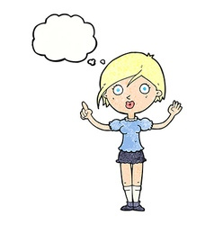 Cartoon girl asking question with thought bubble vector