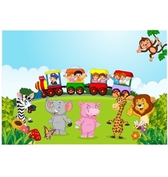 Happy kids on a colorful train with animal vector