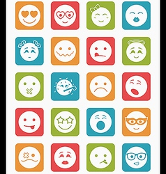 20 smiles icons set child in square vector