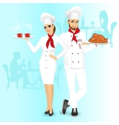 Attractive man and woman chefs vector