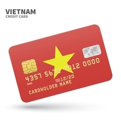Credit card with vietnam flag background for bank vector