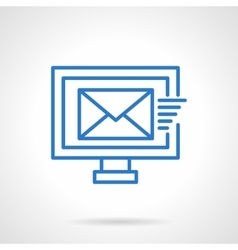Mailing sign blue line icon vector