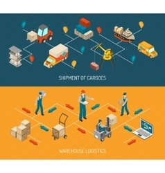 Logistic delivery and warehouse banners set vector