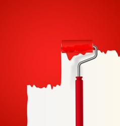 Background of red roller painting the wall vector