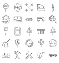 Apparatus icons set outline style vector