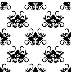 Black floral arabesque seamless pattern vector