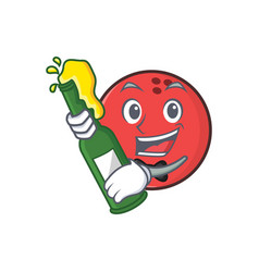 Bowling ball character cartoon with beer vector