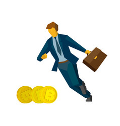 businessman running for gold bitcoins vector image vector image
