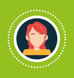 Character girl red hair social media vector