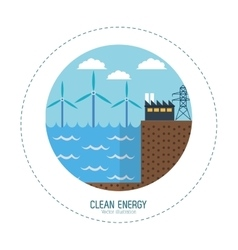 Clean energy tidal energy factory vector