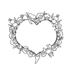 Coloring page with angels around heart vector image