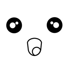 Comic kawaii face emoticon vector