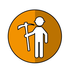 Construction worker with pick avatar vector