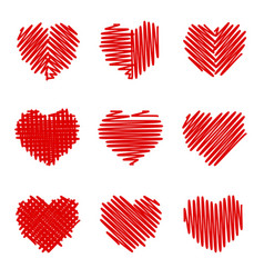 crosshatching valentines set vector image