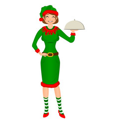cute girl santa elf holding tray for hot dishes vector image vector image
