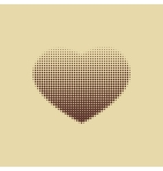 Dark brown heart painted with dots vector