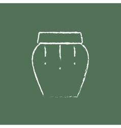 Drum instrument icon drawn in chalk vector