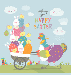 Easter chicken with easter eggs vector