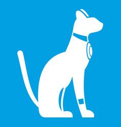 Egyptian cat icon white vector