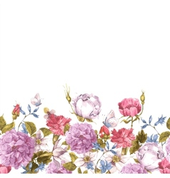 Floral Seamless Watercolor Border with Roses vector image vector image
