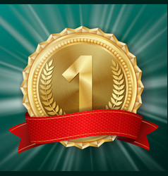 gold medal golden 1st place badge vector image