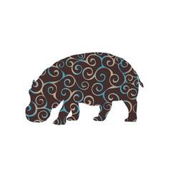 Hippo mammal color silhouette animal vector