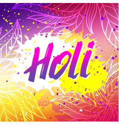 Holi festival banner with lettering vector