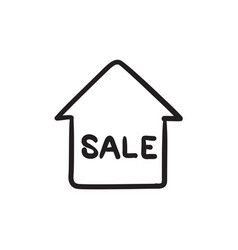 House for sale sketch icon vector