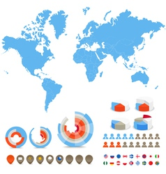 Infographic map and elements vector