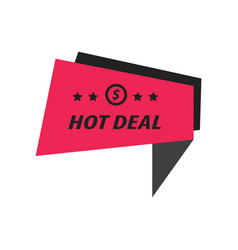 Label hot deal black pink vector