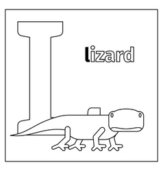 Lizard letter L coloring page vector image vector image