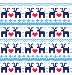 Nordic seamless pattern with deer and hearts vector image