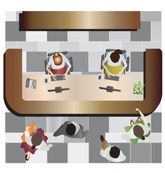Office furniture Reception top view set 13 vector image vector image