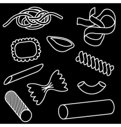 pasta icon set vector image vector image