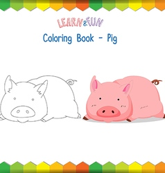 Pig coloring book educational game vector image