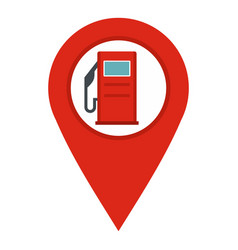 Red map pin with gas station sign icon isolated vector