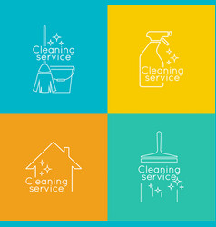set logo cleaning service vector image