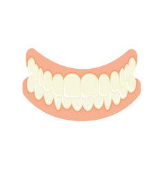 Set of false teeth implanted jaw vector