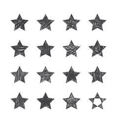 Set of hand drawn stars on white background vector image vector image