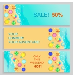 Set of Horizontal travel summer Banners with vector image vector image