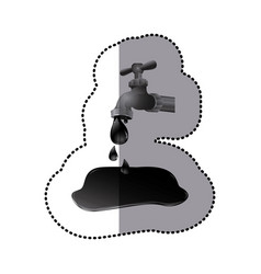Silver faucet with petroleum drop contamination vector