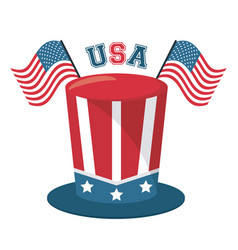 Top hat and usa flag lettering design vector