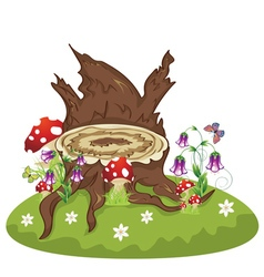Tree Stump and Mushrooms vector image