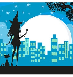 Witch in the city vector