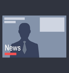 news with man silhouette on dark grey background vector image