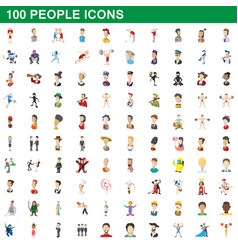 100 people icons set cartoon style vector image