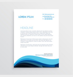 stylish blue wave letterhead design for your vector image