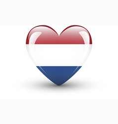 Heart-shaped icon with flag of Netherlands vector image