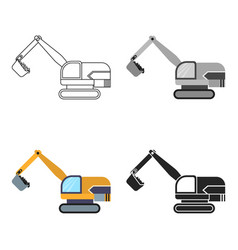 excavator icon in cartoon style isolated on white vector image